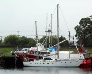 Danaan, safely at Blaketown, Greymouth, after being rescued by the Coastguard. PHOTO: GREYMOUTH STAR