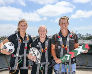 Looking forward to a big next few years of women's sport in New Zealand are (from left) Football...