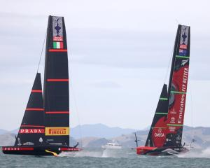 Luna Rossa and Team New Zealand race during Wednesday's America's Cup action. Photo: Getty Images