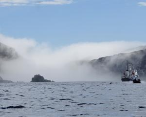 The Antipodes Islands emerge from a sea fog and The Spirit of Enderby  anchored in its waters.