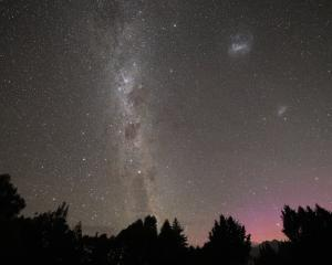 The Aurora Australis and Milky Way over the Remarkables from Speargrass Flat last night