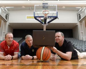 Edgar Centre general manager Blair Crawford, Basketball Otago general manager Peter Drew and...