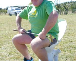 Reece Johnston, of Balclutha, avails himself of the facilities at the Warepa School Support Group...