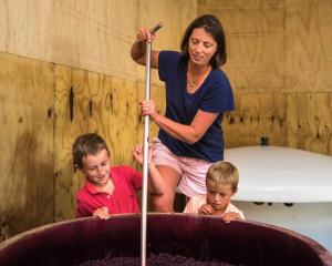 Kate Acland shares the wine making process with sons Leo and Otto. PHOTO SUPPLIED