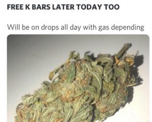 A cannabis seller has offered to do drop-offs depending on gas. Photo: Screenshot via NZ Herald