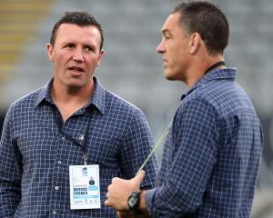 Former Highlanders coaches Aaron Mauger (left) and Mark Hammett. Photo: Getty Images