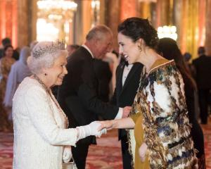 The Queen greeting Jacinda Ardern at Buckingham Palace during the Commonwealth Heads of...