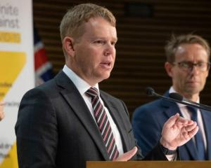 Covid Response Minister Chris Hipkins (left) with Director-General of Health Dr Ashley Bloomfield...