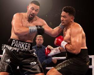 Joseph Parker lands a punch against Junior Fa. Photo: NZ Herald