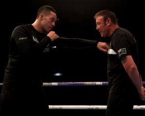 Joseph Parker (left) and Kevin Barry in the ring in 2018. Photo: Getty Images