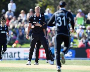 Kyle Jamieson reacts during the Black Caps match against Bangladesh in Christchurch on Tuesday...