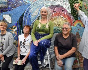 Maria Macnee, Sally Crimp, Vianney Santagati, Margaret Wesley and Cavell Muir stand before their...