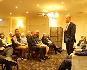 National spokesman for tourism Todd McClay speaks to a business audience in Queenstown yesterday....