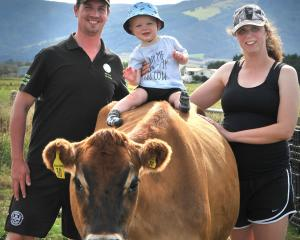 Gregor and Lynne Ramsay, with son George (1), hope entering the on-farm dairy heifer competition...