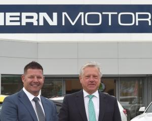 Southern Motor Group's new dealer principal Craig Brook (left) and managing director Ken Cummings...