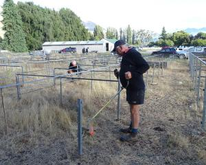 Tarras merino sheep farmer and volunteer Robbie Gibson tidies up some sheep pens ahead of the 