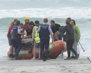 The rescue team at Ocean View Recreation Reserve near Brighton today. Photo: Gerard O'Brien