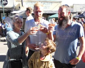 Toasting the Clyde Wine and Food Festival yesterday are (from left) Amy and Brad Mason, of...