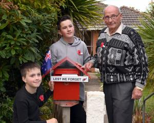 Showing off their Anzac letterbox decorations are brothers Devon and Dartanyon Richards with...