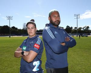Blues captains Eloise Blackwell and Patrick Tuipulotu in the lead-in to Super Rugby's first women...