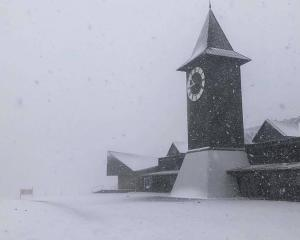 Snow falling at Cardrona ski field, near Wanaka, this morning. Photo: Phil Waddell