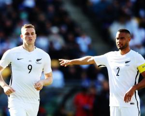 Chris Wood (left) and Winston Reid during the All Whites last home game, against Peru in 2017....