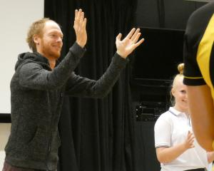 Thomas Monckton leads Mount Apsiring College pupils in class on physical theatre.