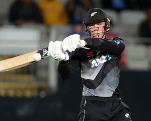 Finn Allen hit 10 fours and three sixes in his knock for the Black Caps. Photo: Getty Images