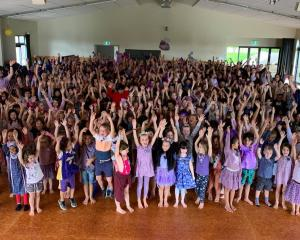 Students celebrate Purple Day in memory of Julie Ann Hamilton, a Westmere School assistant...
