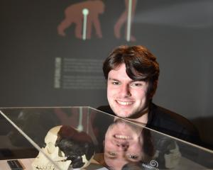 Otago Museum science communicator Quinn Hawthorne examines an exhibit from a new museum show on...