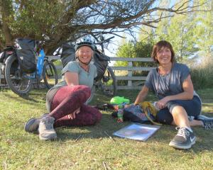 Making the most of the sunshine alongside the Otago Central Rail Trail at Chatto Creek are...