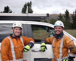 Electrix transmission and distribution line mechanics Scott Mulcahy (left) and Sean ''Stewie''...