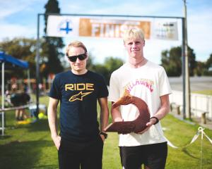 Oamaru's Tim Rush (left) and Kaleb Hayes won the 2021 Whitehorse Big Easy team challenge. PHOTO:...
