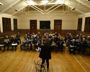 The Dunedin RSA Choir rehearses last night at the Caversham Presbyterian Church's Sidey Hall. The...