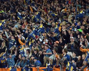 Fans in The Zoo section of Forsyth Barr Stadium, Dunedin, during the first game of last season's...