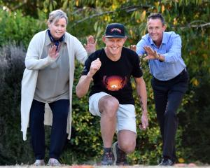 Dunedin ultra-marathon runner Glenn Sutton (47, centre) prepares yesterday for his longest...