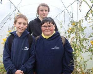 Aurora College pupils (from left) Ashton Gregory-Hunt (13), Carl Hollis (15) and Danny Mortimore ...