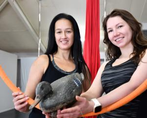 Morina Colyer and Saniya Thompson from South Pole Dance are promoting an event for duck-shooters'...