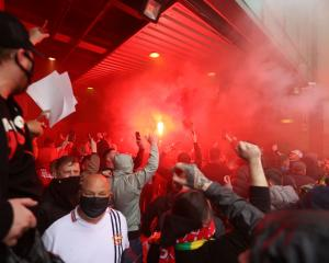 The protest follows United's initial decision to join a European Super League along with five...