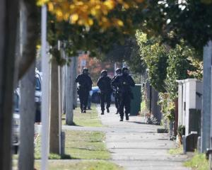 Armed police have converged on a Christchurch street. Photo: George Heard