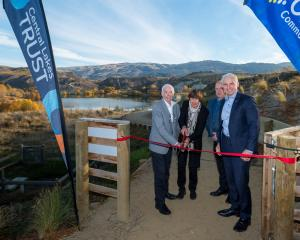 Sir Eion and Jan Lady Edgar (left), Central Otago Queenstown Trails Trust chairman Stephen...