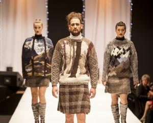 Daphne Randle's prizewinning garments are modelled in the collections category of the 2015 WoolOn...