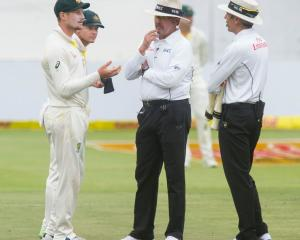 Cameron Bancroft was summoned for a chat to the umpires, but initially denied he had tampered...
