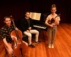 Dunedin Concerto Competition finalists (from left) cellist Boudewijn Keenan (17), pianist...