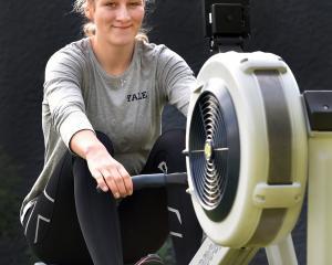 Eva Hofmans training at home during last year's lockdown. Photo: Peter McIntosh