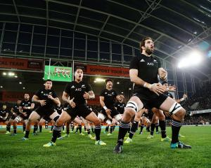 Sam Whitelock leads the haka for the All Blacks against France in Dunedin in 2018. Photo: Getty...
