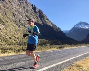 Ultra-marathon runner Glenn Sutton on his  580km run from Milford Sound to Mt Cook, as a...
