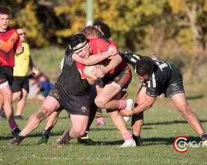 HARD YARDS: Alan Morrison carts the ball up for Halswell during their Canterbury Rugby League...