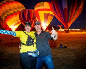 Hororata Community Trust executive officer Cindy Driscoll and Ballooning Canterbury chief pilot...