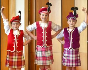 Highland dancers (from left) Lexi Harris, of Outram, Georgia Dahlenburg, of Mosgiel, and Harper...